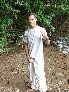 Hunk latino in muddy jungle let cock shown