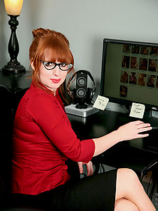 Red hot office exec Amber Dawn slides off her thong to masturbate with a dildo