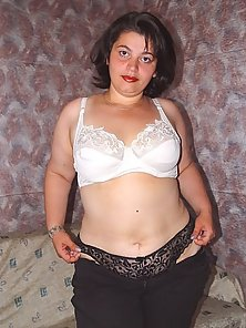 Shy Chubby Brunette Stripping and Posing