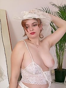 Beautiful BBW in Wedding Gown Posing Nude