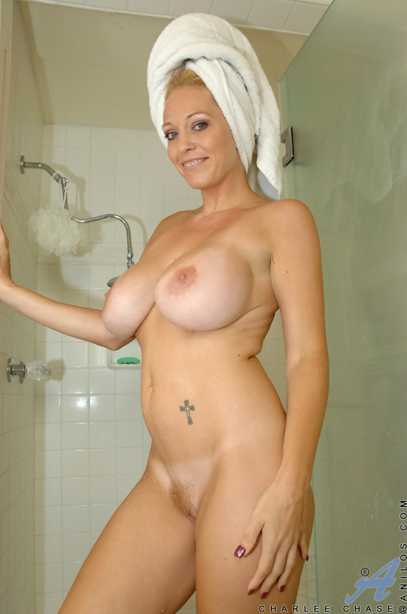 naughty milf lathers up her huge tits in the shower - sex oasis