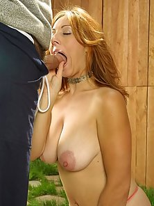 Slutty Blonde Enjoying Blowjob Outside