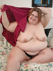 Naughty Hot BBW in Nice Red Lingerie Stripping