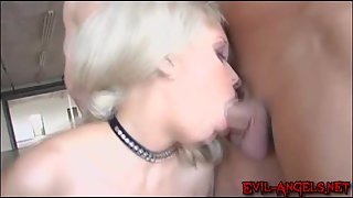 Naughty and filthy Kissy Kapri drinks cum from several men