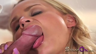 Strapon Stunning Blonde In Double Penetration Heaven
